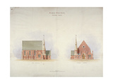 Elevation of the Side and Entrance of Woolwich Chapel  London  1855