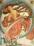 Dance (From the Series the Art), 1898 Giclée par Alphonse Mucha