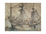 Ship with Revelling Sailors  Lansquenets and a Sutleress