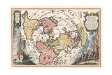 World Map with Magellan's Circumnavigation  1702-1703