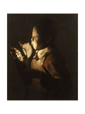 Boy Blowing at Lamp