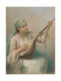 Woman Playing a Lute Giclée par Fausto Zonaro