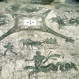 Mosaic  Carts Pulled by Mules with Travellers  Cisarii C1st Century