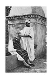 A Street Barber and His Client  Algeria  Africa  1922