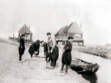 Men and Boys in Traditional Costume by a Canal Bank  Marken Island  Netherlands  1898