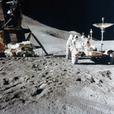 James Irwin (1930-199) with the Lunar Roving Vehicle During Apollo 15  1971