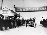 Felice Nazzaro in a Fiat Winning the Targo Florio Race  Sicily  1907