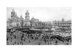 Cathedral and National Palace  Mexico City  Mexico  1926