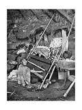 Araucanian Woman Weaving  Chile  1922