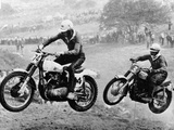 Two Motorcyclists Taking Part in Motocross at Brands Hatch  Kent