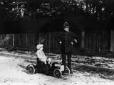 Boy in 1908 Mercedes Pedal Car