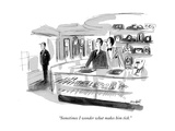 """Sometimes I wonder what makes him tick"" - New Yorker Cartoon"