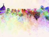 Rio De Janeiro Skyline in Watercolor Background