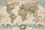 Educational World Map Reproduction d'art par Elizabeth Medley