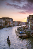 Italy  Veneto  Venice Grand Canal at Sunset from Rialto Bridge