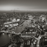 Night Aerial View of the Shard  River Thames  Tower Bridge and City of London  London  England