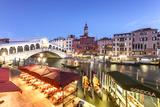 Italy  Veneto  Venice Rialto Bridge at Dusk  High Angle View