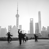 Tai Chi on the Bund (With Pudong Skyline Behind)  Shanghai  China