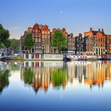 Netherlands  North Holland  Amsterdam Typical Houses and Houseboats on Amstel River