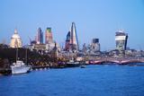 City of London Skyline and River Thames at Dusk  England  UK
