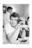 Johnny Hallyday Having a Drink with Some Friends