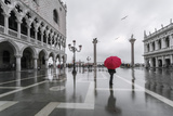 Italy  Veneto  Venice Woman with Red Umbrella in Front of Doges Palace with Acqua Alta (Mr)