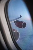 Airbus A340 Aircraft  View Out of the Window with Engine and Wing