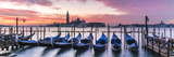 Italy  Veneto  Venice Row of Gondolas Moored at Sunrise on Riva Degli Schiavoni