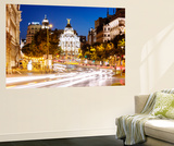 Spain  Madrid Street View with Metropolis Building and Light Trails