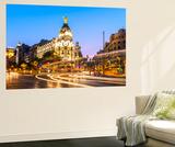 Spain  Madrid Cityscape at Dusk with Famous Metropolis Building