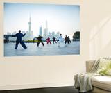 Tai Chi on the Bund (With Pudong Skyline Behind)  Shanghai  China