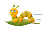 Cute Worm on the Green Leaf