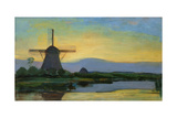 Oostzijdse Mill with Extended Blue  Yellow and Purple Sky  C1907-Early 1908