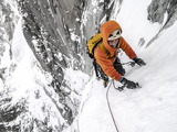 Tom Grant Arriving in the Upper Couloir Nord Des Drus  Chamonix  France