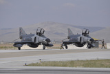 Two Turkish Air Force F-4E 2020 Terminator Aircraft Standby with Crew Chiefs