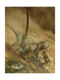 Battle Scene Between a Velociraptor and Protoceratops in the Mongolian Desert