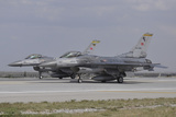 Two Turkish Air Force F-16C Aircraft Ready for Take-Off