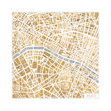 Gilded Paris Map Reproduction d'art par Laura Marshall