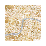 Gilded London Map Reproduction d'art par Laura Marshall