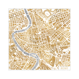 Gilded Rome Map Reproduction d'art par Laura Marshall
