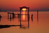 Florida  Apalachicola  Old Boat House at Sunrise on Apalachicola Bay
