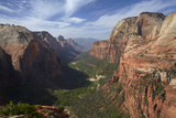 Utah, Zion National Park, View from Top of Angels Landing into Zion Canyon Papier Photo par David Wall