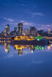 Canada  Montreal  Skyline and Old Port Along St Lawrence River  Dusk