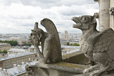 Europe  France  Paris Two Gargoyles on the Notre Dame Cathedral