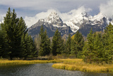 Grand Tetons  from Schwabachers Landing  Grand Teton National Park  Wyoming  USA