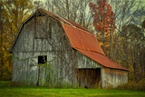 USA, Indiana. Rural Landscape, Vine Covered Barn with Red Roof Papier Photo par Rona Schwarz