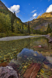 Mcdonald Creek in Autumn with Garden Wall in Glacier National Park  Montana  USA