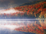 New York  Adirondack Mts  Fall and Fog Reflecting in Heart Lake