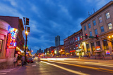 Broadway Street at Dusk in Downtown Nashville  Tennessee  USA