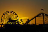 Los Angeles  Santa Monica  Ferris Wheel and Roller Coaster at Sunset